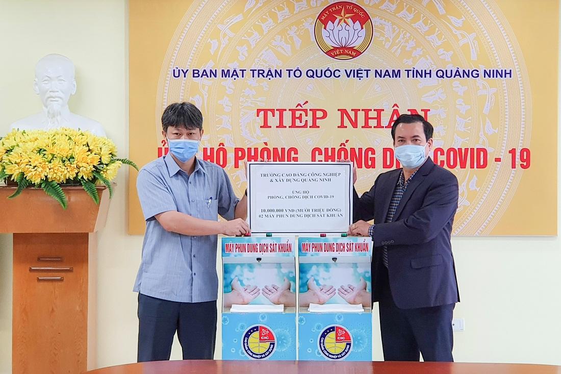 Cao đẳng Công nghiệp và Xây dựng trao tặng thiết bị phun sát khuẩn tay tự động cho Ủy ban MTTQ tỉnh Quảng Ninh