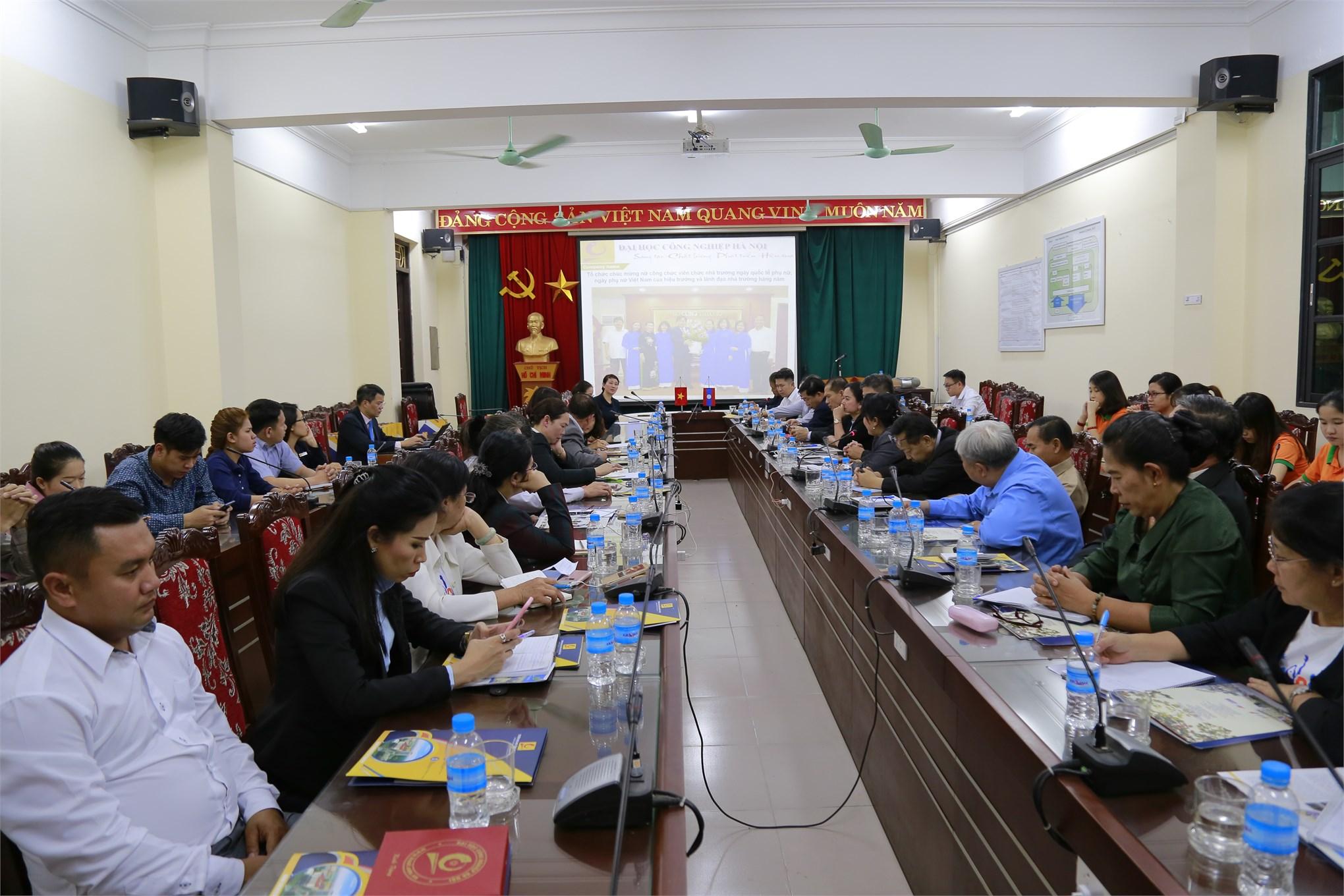 Trường Đại học Công nghiệp Hà Nội và Bộ Giáo dục & Thể thao CHDCND Lào trao đổi về công tác bình đẳng giới, vì sự tiến bộ của phụ nữ