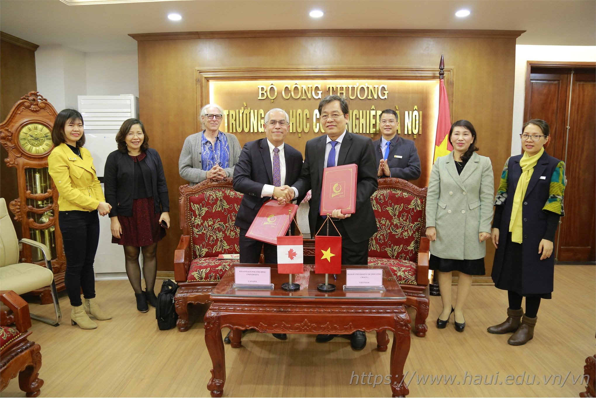 MOU signing ceremony between Hanoi University of Industry and Kwantlen University of Science and Technology, Canada