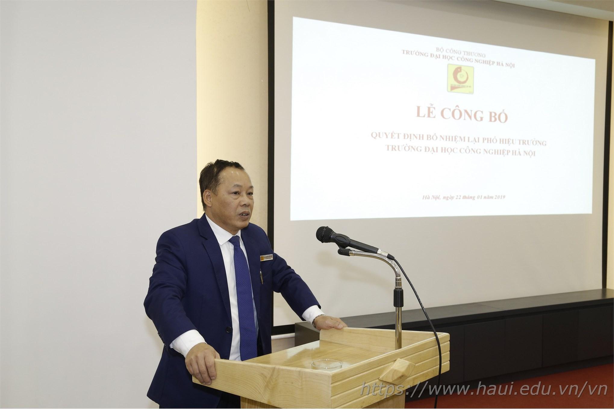 Lễ công bố quyết định bổ nhiệm lại Phó Hiệu trưởng