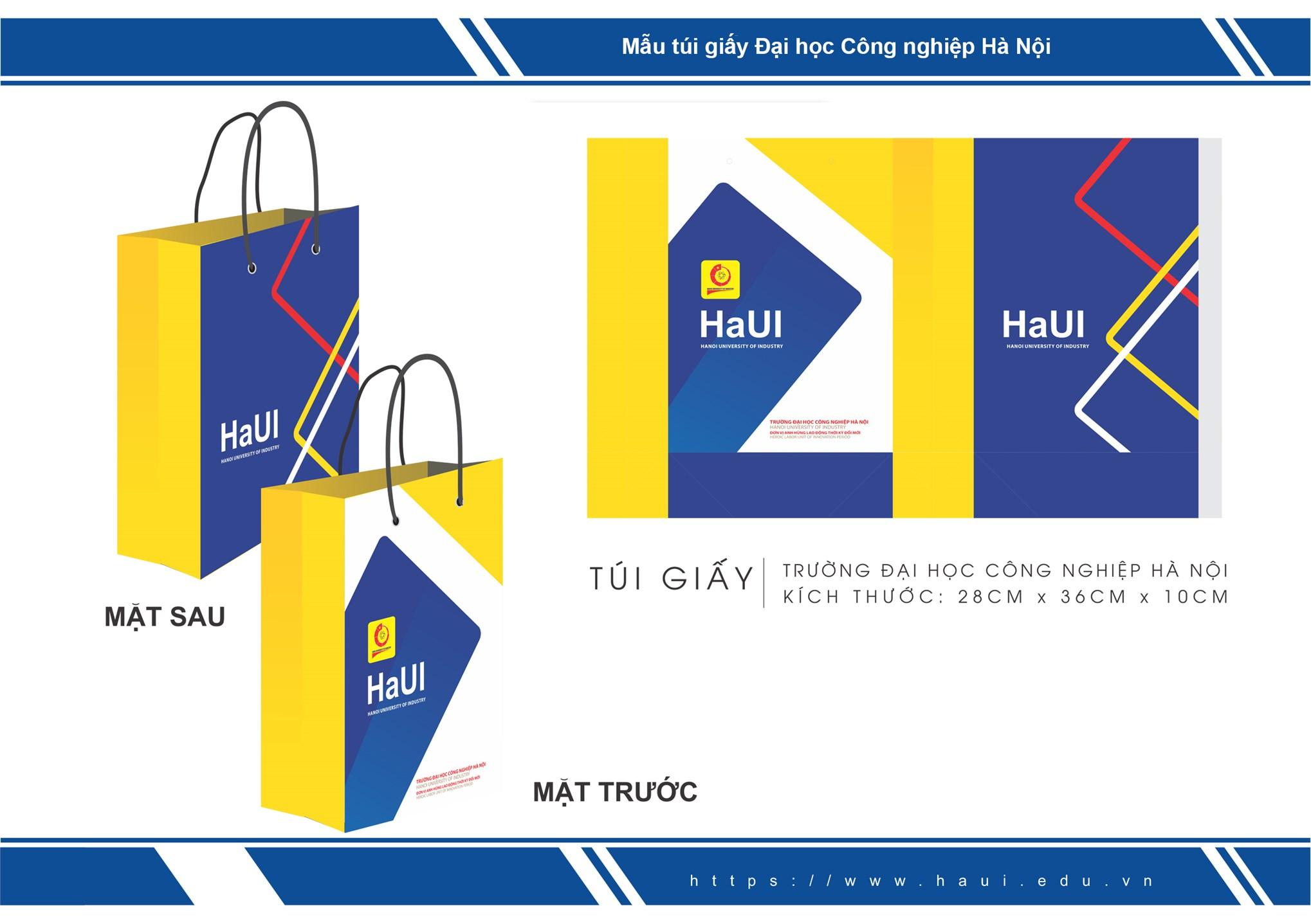 Nhận diện thương hiệu Túi giấy Đại học Công nghiệp Hà Nội