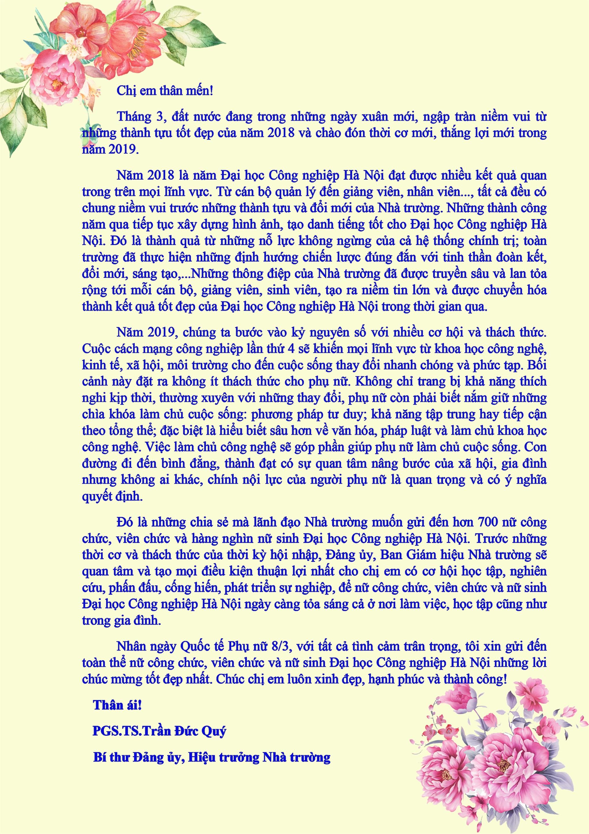 Thư chúc mừng Hiệu trưởng nhân ngày Quốc tế Phụ nữ 8/3