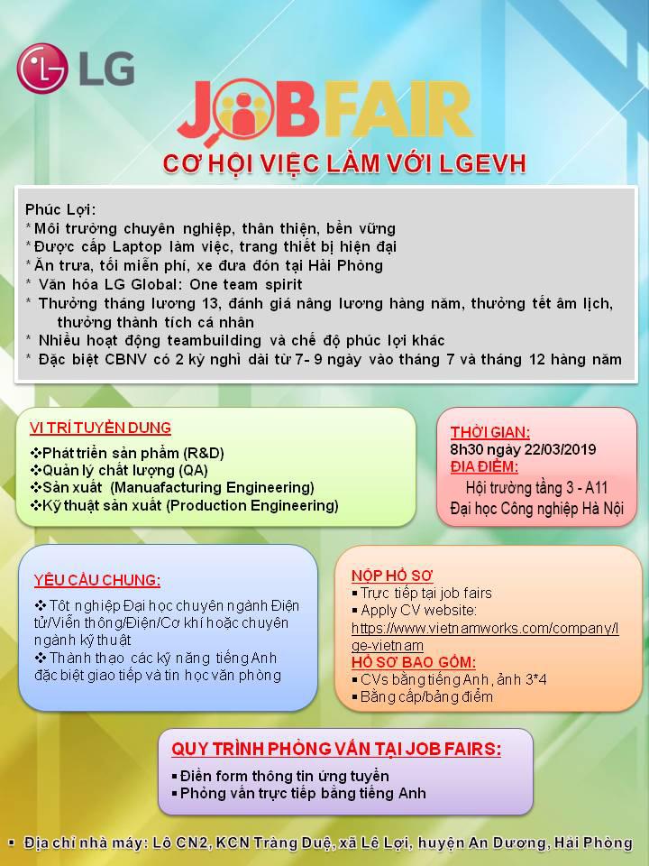 Thông báo tổ chức chương trình Hội thảo cợ hội việc làm của Công ty TNHH LG Electronics Việt Nam Hải Phòng ngày 22/03/2019