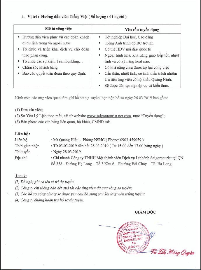 Công ty Sài Gòn Tourist tuyển dụng
