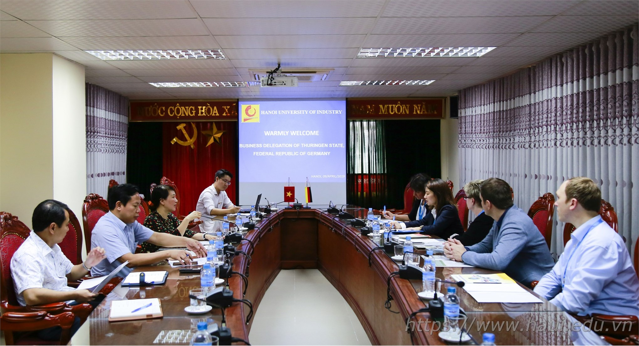 Đoàn doanh nghiệp Bang Thuringen - CHLB Đức thăm và làm việc tại Đại học Công nghiệp Hà Nội