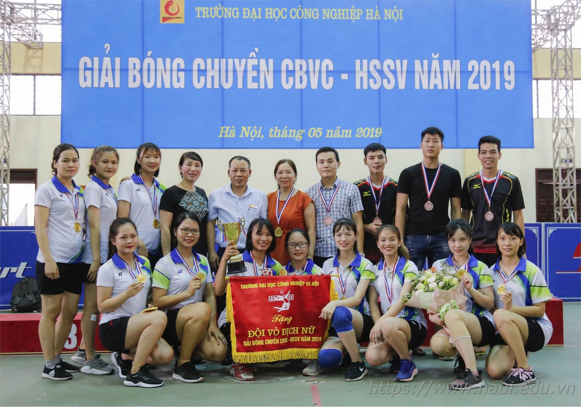 Liên quân nữ Khoa Lý luận Chính trị - Pháp luật, Kế toán Kiểm toán vô địch giải Bóng chuyền CBVC-HSSV năm học 2018-2019