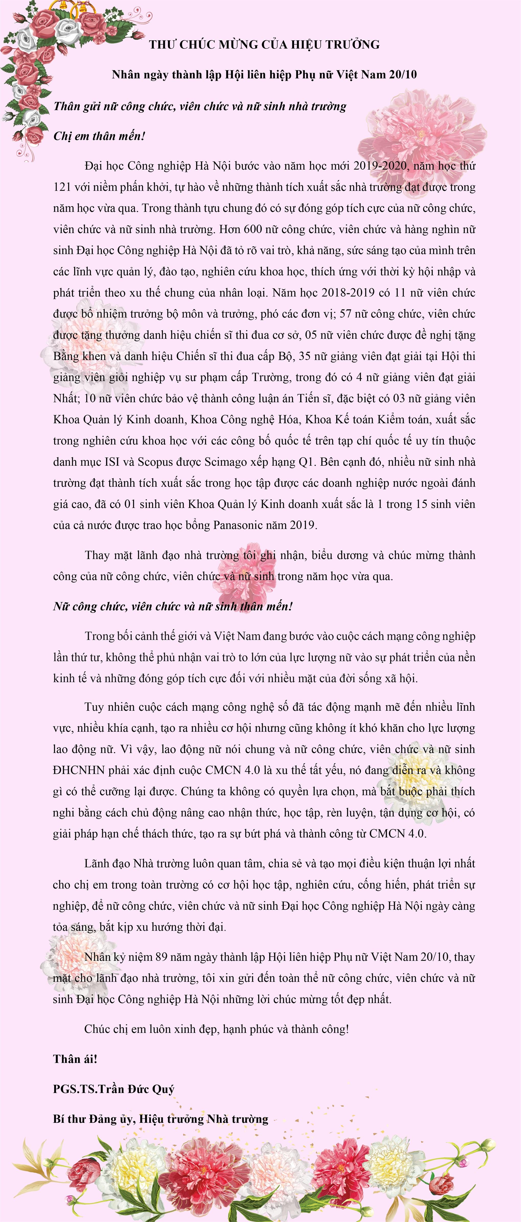 Thư chúc mừng Hiệu trưởng nhân ngày thành lập Hội liên hiệp Phụ nữ Việt Nam 20/10