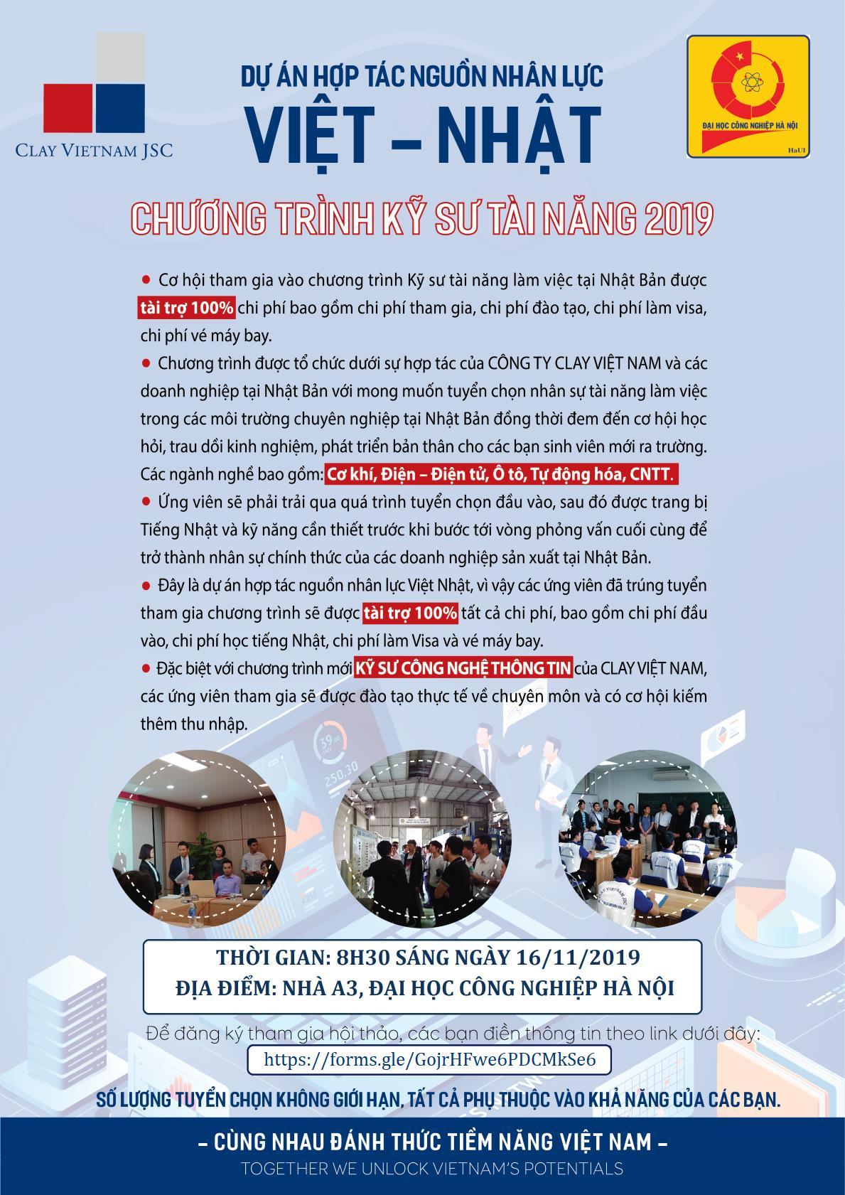 Hội thảo tuyển dụng của công ty Clay Việt Nam tại Đại hộc Công nghiệp Hà Nội