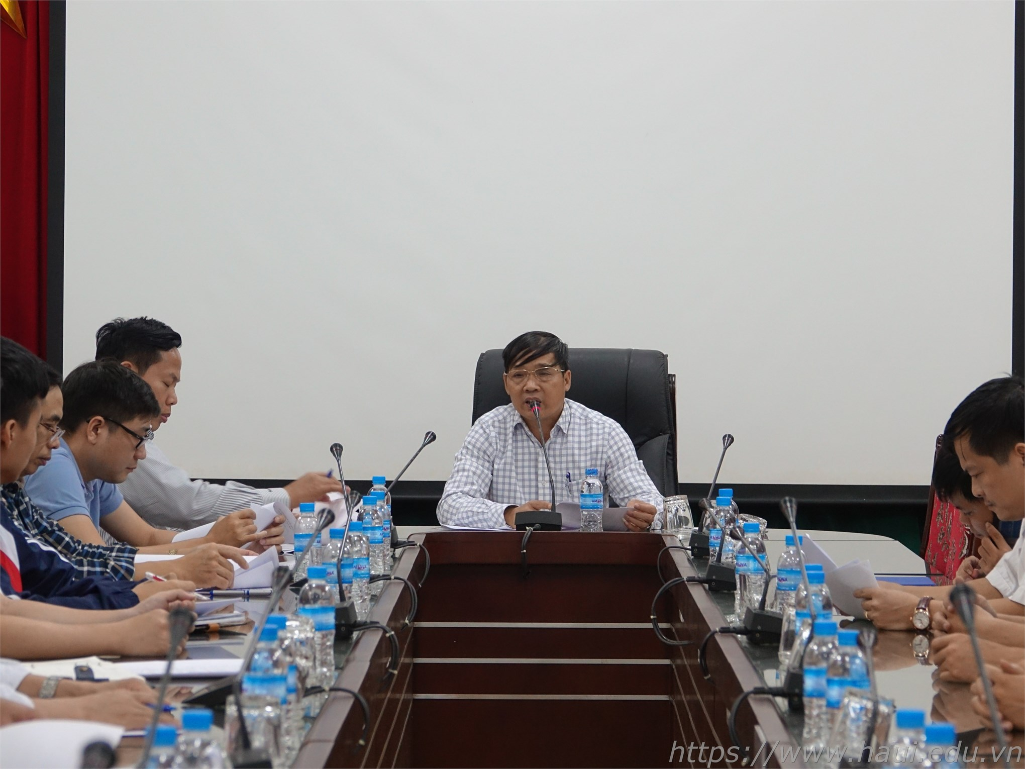 PGS.TS.Phạm Văn Bổng – Phó Hiệu trưởng Nhà trường phát biểu tại buổi gặp mặt đoàn dự thi Kỳ thi tay nghề thành phố Hà Nội năm 2019