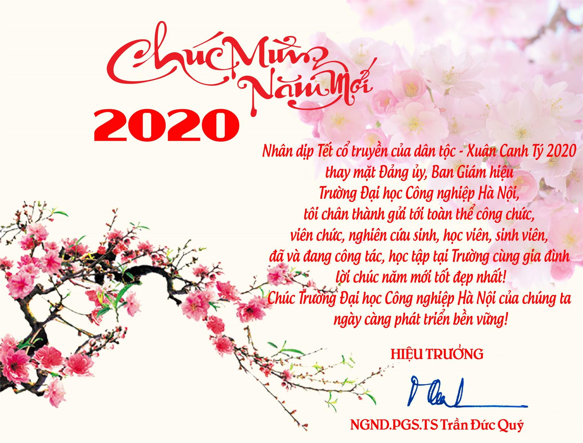 Thiệp chúc xuân Hiệu trưởng trường Đại học Công nghiệp Hà Nội
