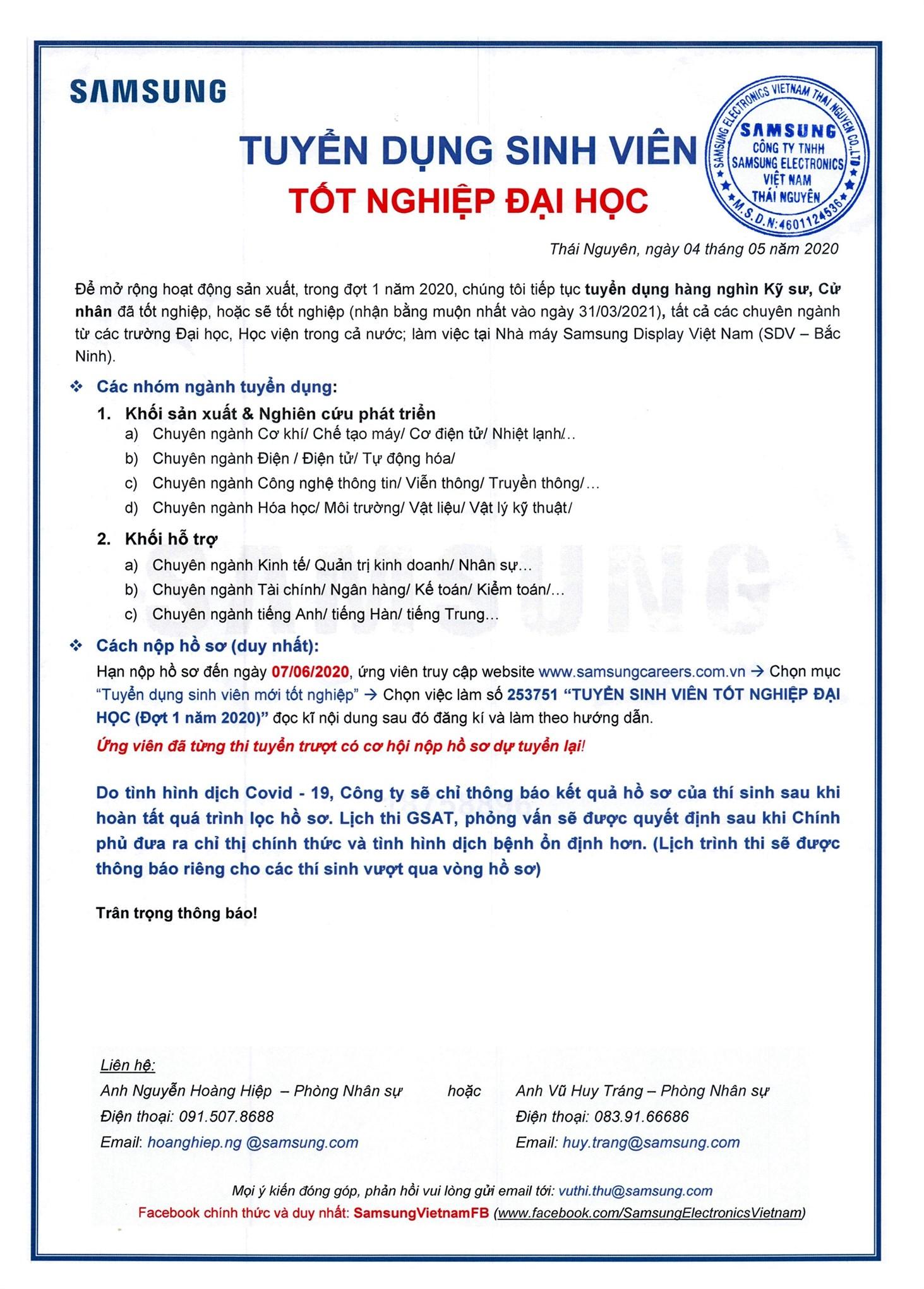 Hội thảo cơ hội việc làm tại Công ty TNHH Samsung Electronics Việt Nam