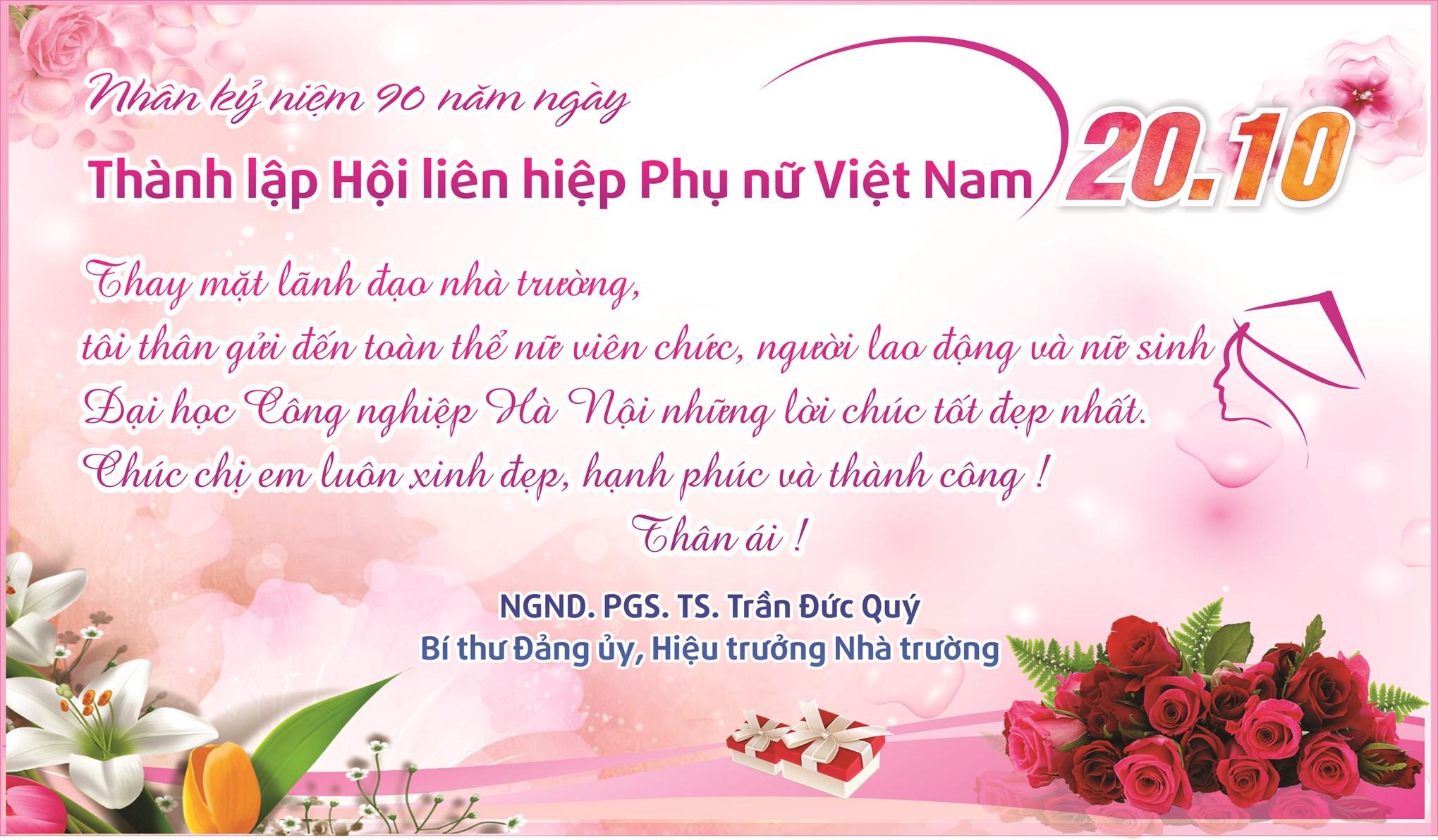 Hiệu trưởng chúc mừng nhân ngày thành lập Hội liên hiệp Phụ nữ Việt Nam 20/10