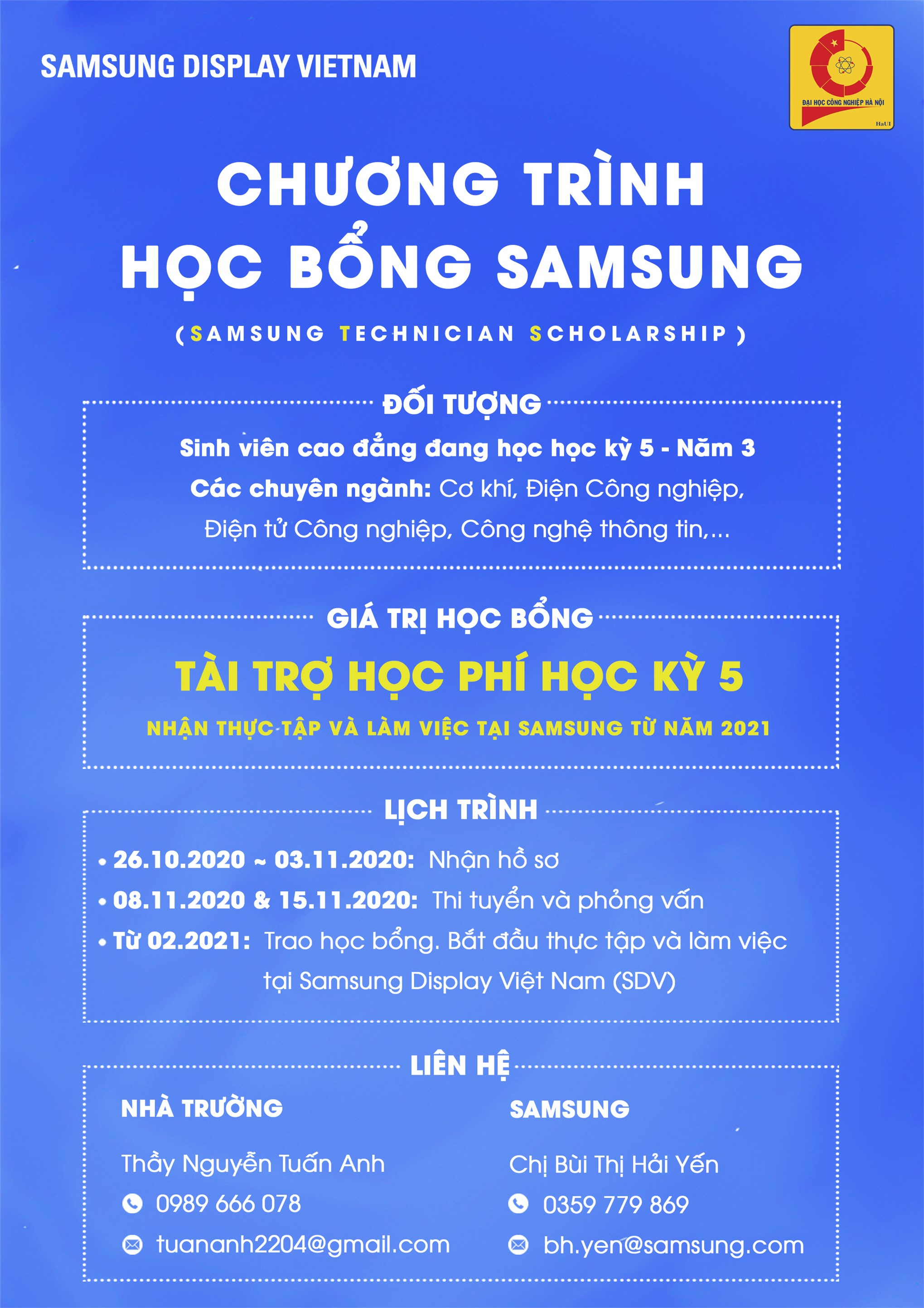 Hội thảo cơ hội việc làm và học bổng của Công ty TNHH Samsung Display Việt Nam