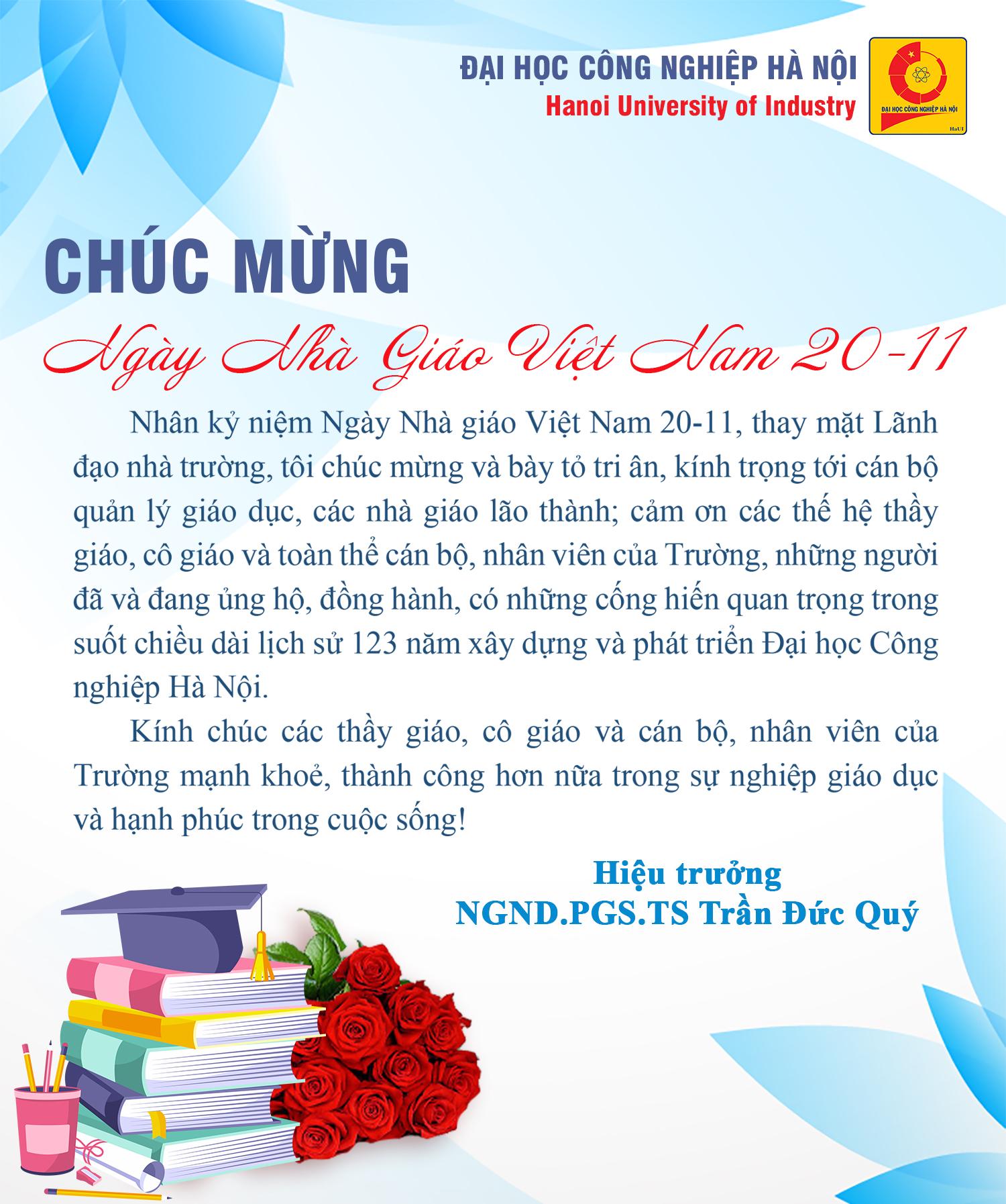 Hiệu trưởng chúc mừng nhân ngày Nhà giáo Việt Nam 20/11