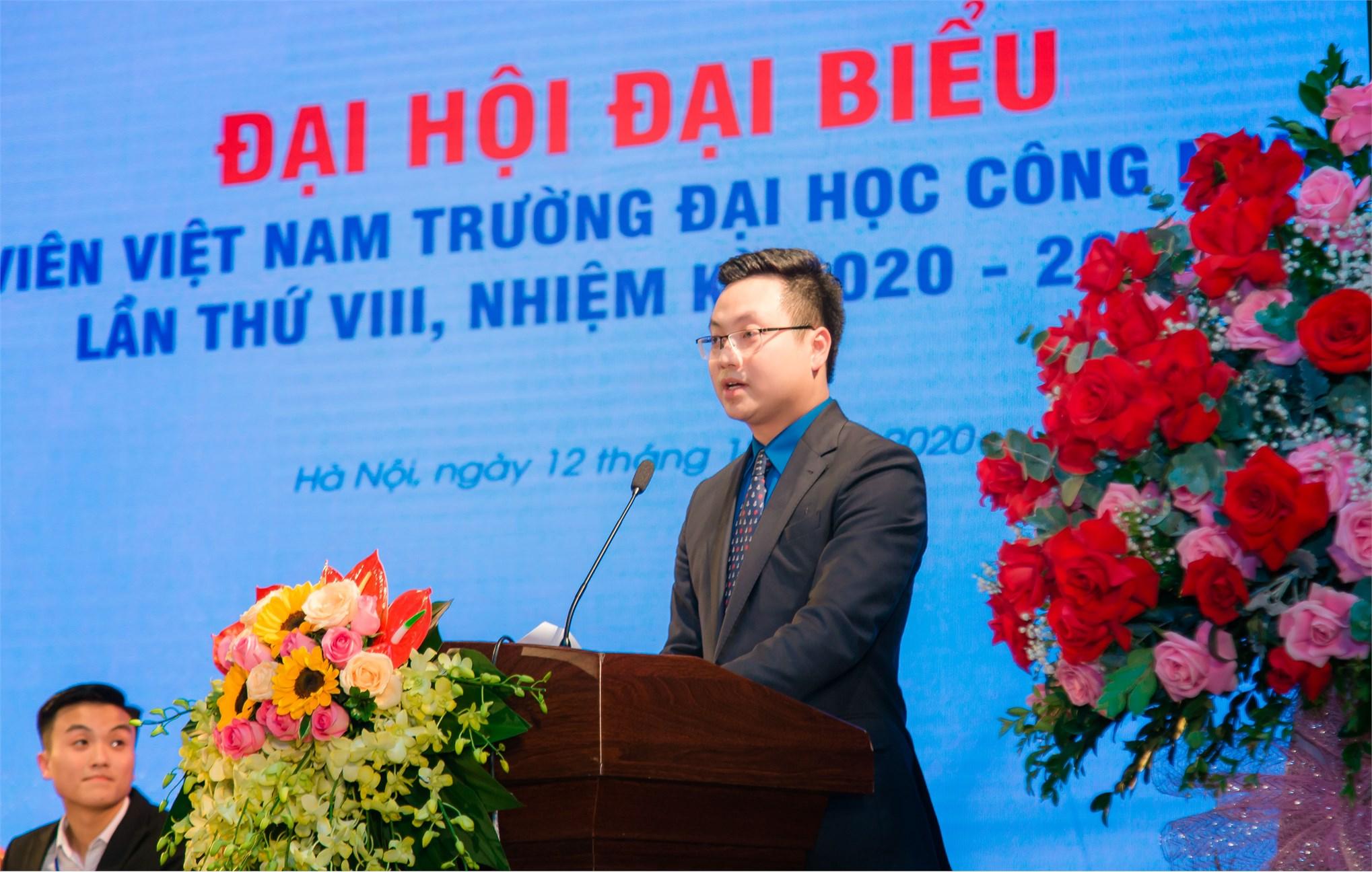 Đ/c Trần Quang Hưng - Phó Bí thư Thành đoàn Hà Nội phát biểu tại Đại hội