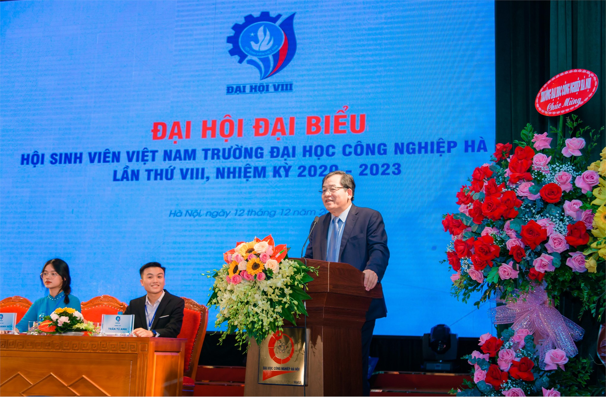 PGS.TS.Trần Đức Quý - Bí thư Đảng ủy, Hiệu trưởng nhà trường đánh giá cao tầm quan trọng của Hội sinh viên đối với hoạt động phong trào, công tác chính trị, tư tưởng và đào tạo của nhà trường.