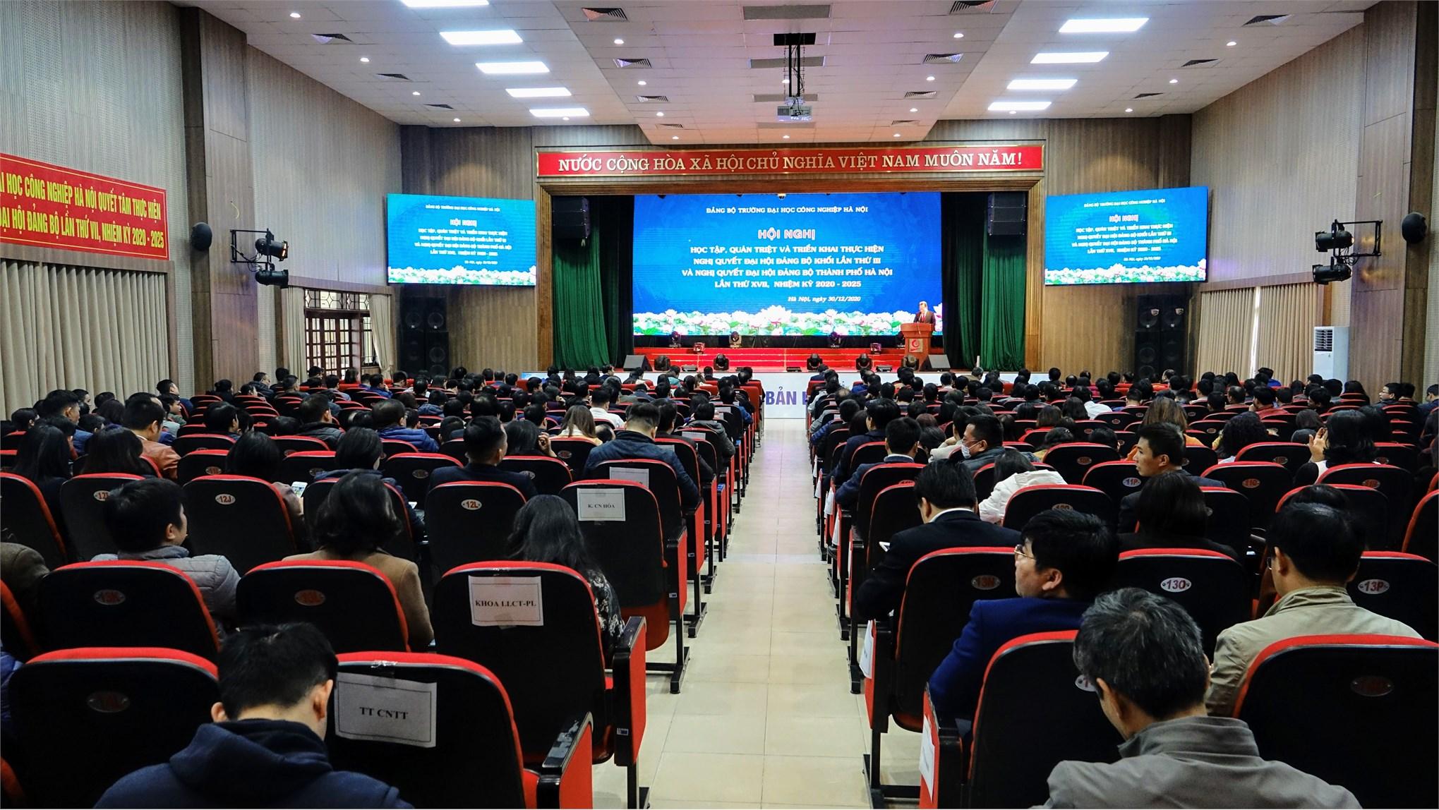 Hội nghị triển khai Nghị quyết Đại hội Đảng bộ cấp trên và Tổng kết công tác Đảng của Đảng bộ trường ĐHCNHN năm 2020