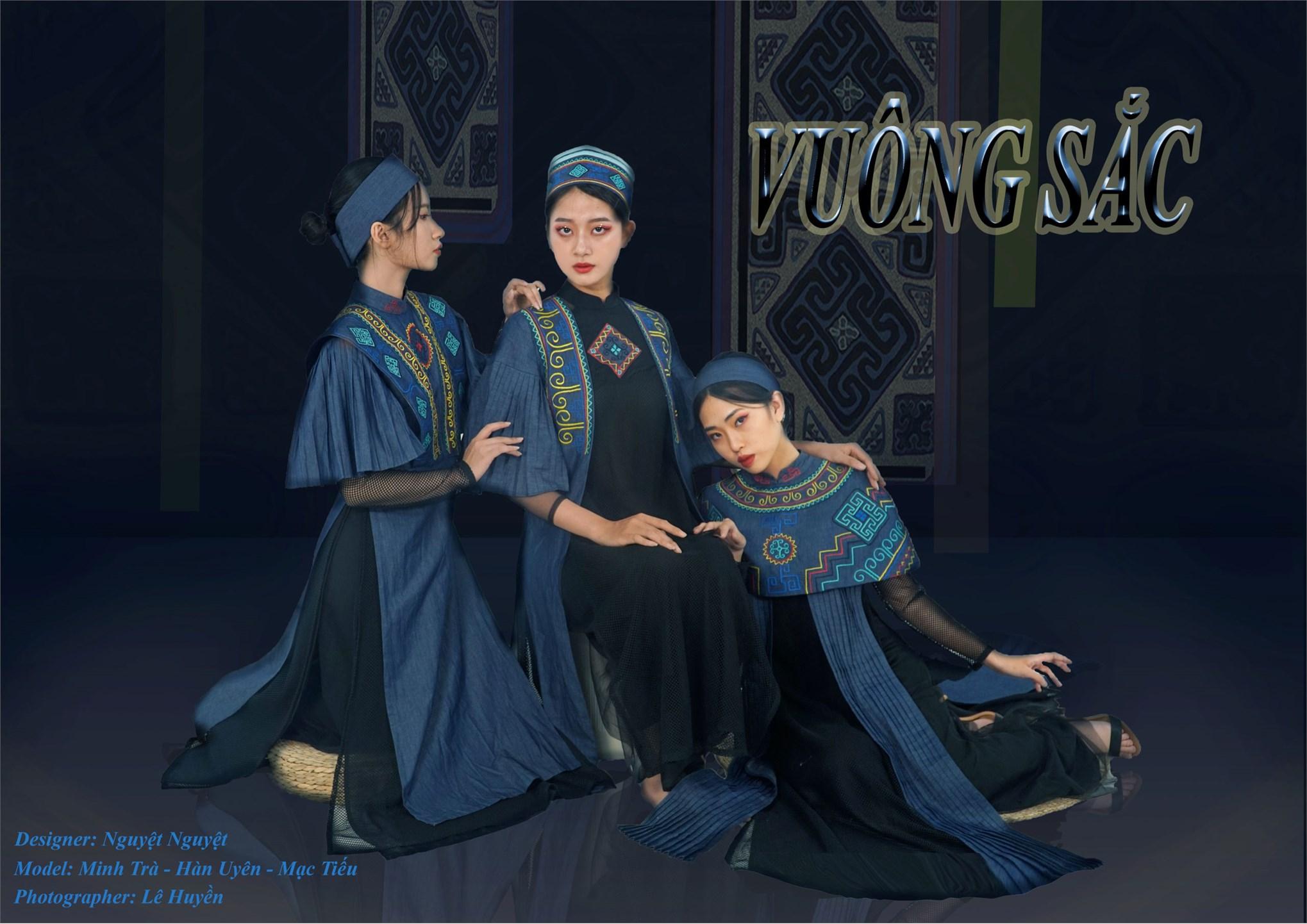 Ứng dụng nghệ thuật tạo hình hoa văn thổ cẩm của dân tộc Mông trong thiết kế áo dài Việt Nam