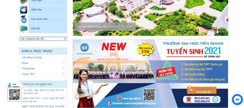 Trường ĐH Tiền Giang đẩy mạnh tư vấn trực tuyến trên website