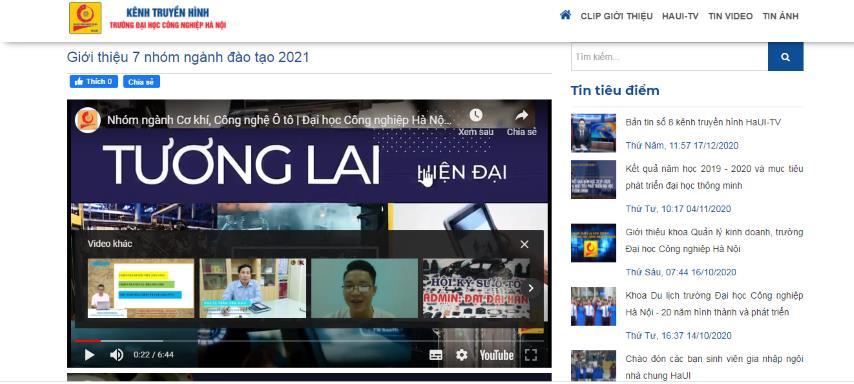 Trường ĐH Công nghiệp Hà Nội xây dựng một số clip ngắn nhằm tư vấn, cung cấp thông tin cho thí sinh về các ngành nghề đào tạo