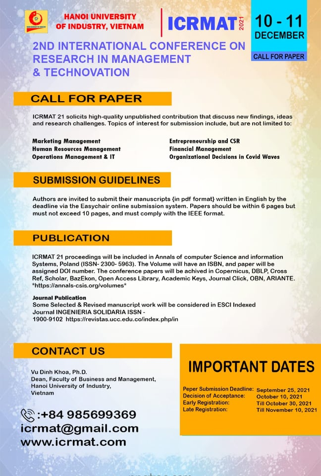 International Conference on Research in Management & Technovation (ICRMAT 2021)