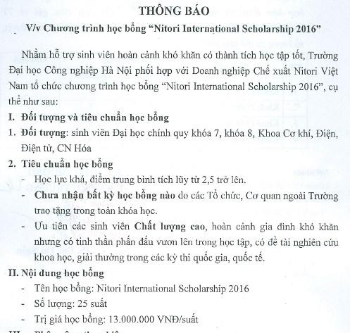 TB chương trình học bổng Nitori 2016