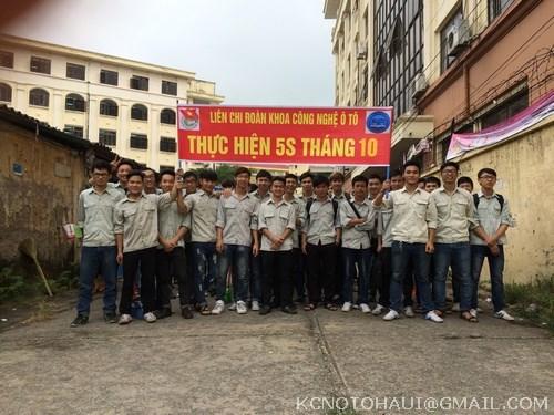 Đoàn thanh niên khoa Công nghệ ô tô thực hiện hoạt động 5S tháng 10
