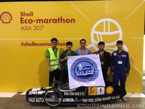 Đội tuyển SuperCup 50 Khoa Công nghệ ô tô trường Đại Học Công nghiệp Hà Nội giành giải 5 trong cuộc thi xe tiết kiệm nhiên liệu Shell Eco marathong được tổ chức tại Singapor năm 2017