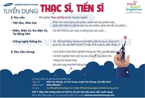 Thông báo tuyển dụng trình độ Thạc sĩ và Tiến sĩ của công ty TNHH Samsung Display Việt Nam