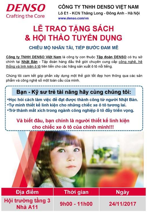Thông báo tổ chức chương trình Hội thảo cơ hội việc làm và trao tặng sách của Công ty TNHH Denso Việt Nam