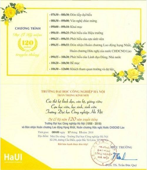Thư mời dự Lễ Kỷ niệm 120 năm Truyền thống