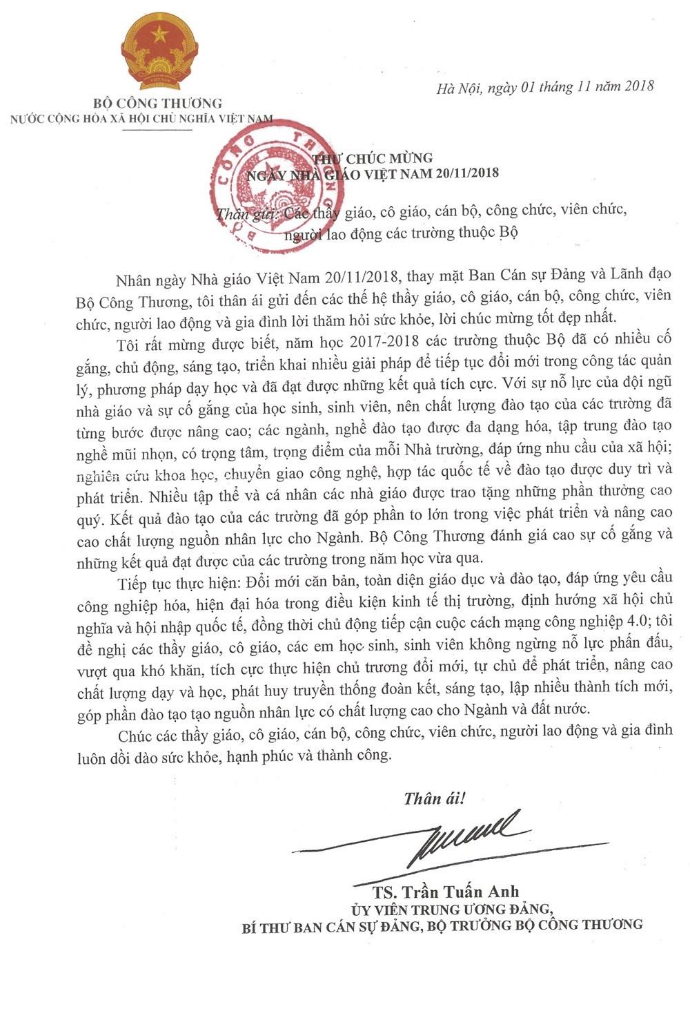 Thư chúc mừng ngày Nhà giáo Việt Nam 20/11 của Bộ trưởng Bộ Công Thương