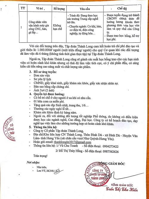 Thông báo tuyển dụng của công ty cổ phần tập đoàn Thành Long