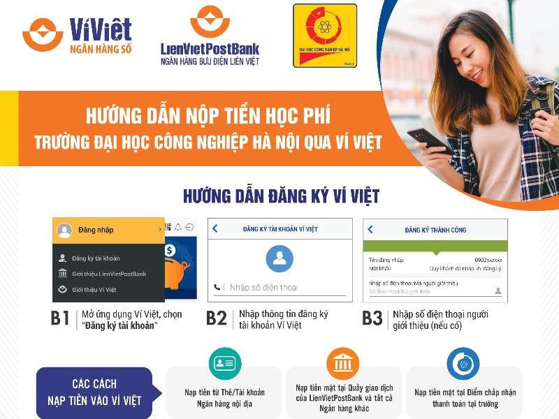 Hướng dẫn sinh viên Đại học Công nghiệp Hà Nội nộp tiền học phí và tiền nhập học qua Ví Việt