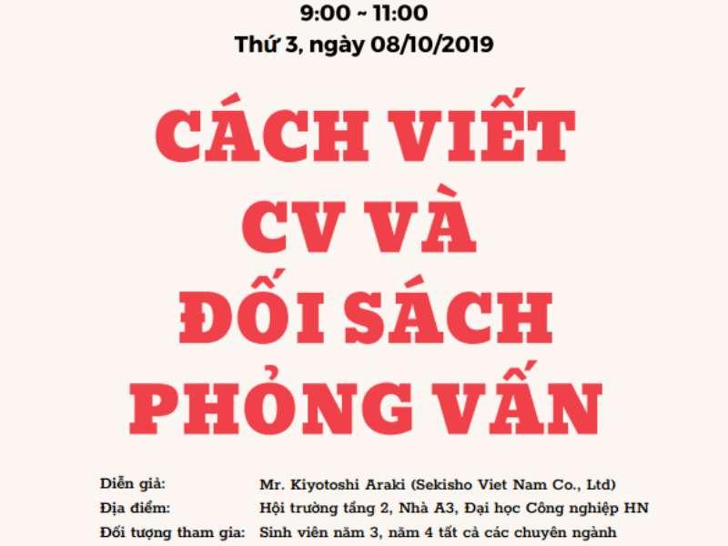 Hội thảo định hướng, tập huấn kỹ năng viết CV, đối sách phỏng vấn vào các doanh nghiệp Nhật Bản của Công ty TNHH Sekisho Việt Nam