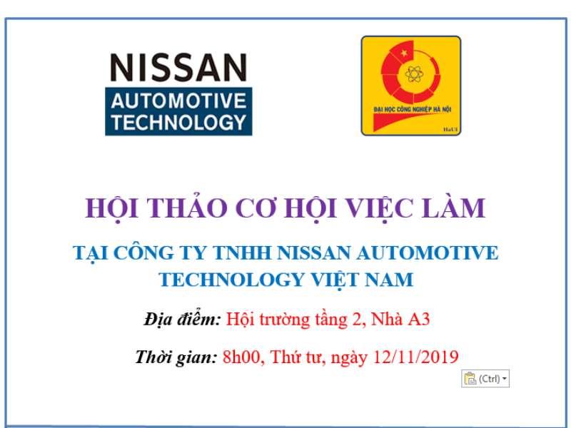 Hội thảo cơ hội việc làm và thi tuyển trực tiếp của Công ty TNHH Nissan Automotive Technology Việt Nam