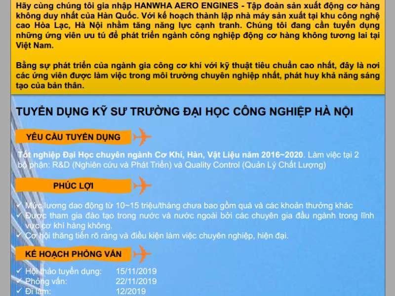 Hội thảo cơ hội thực tập, việc làm tại Công ty TNHH Hanwha Aero Engines Việt Nam
