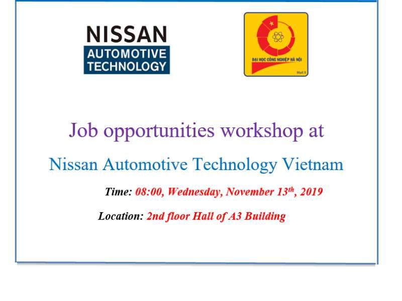 Job opportunities workshop at Nissan Automotive Technology Vietnam