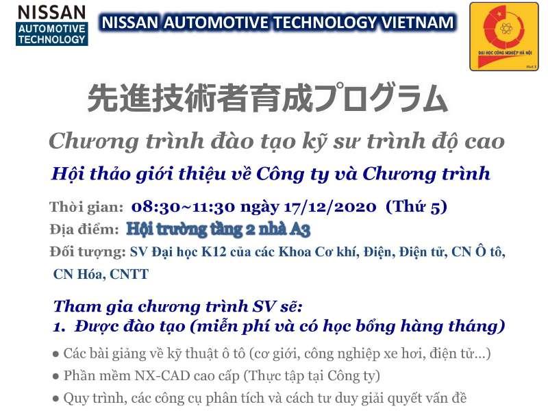 Hội thảo cơ hội việc làm của Công ty TNHH Nissan Automotive Technology Việt Nam